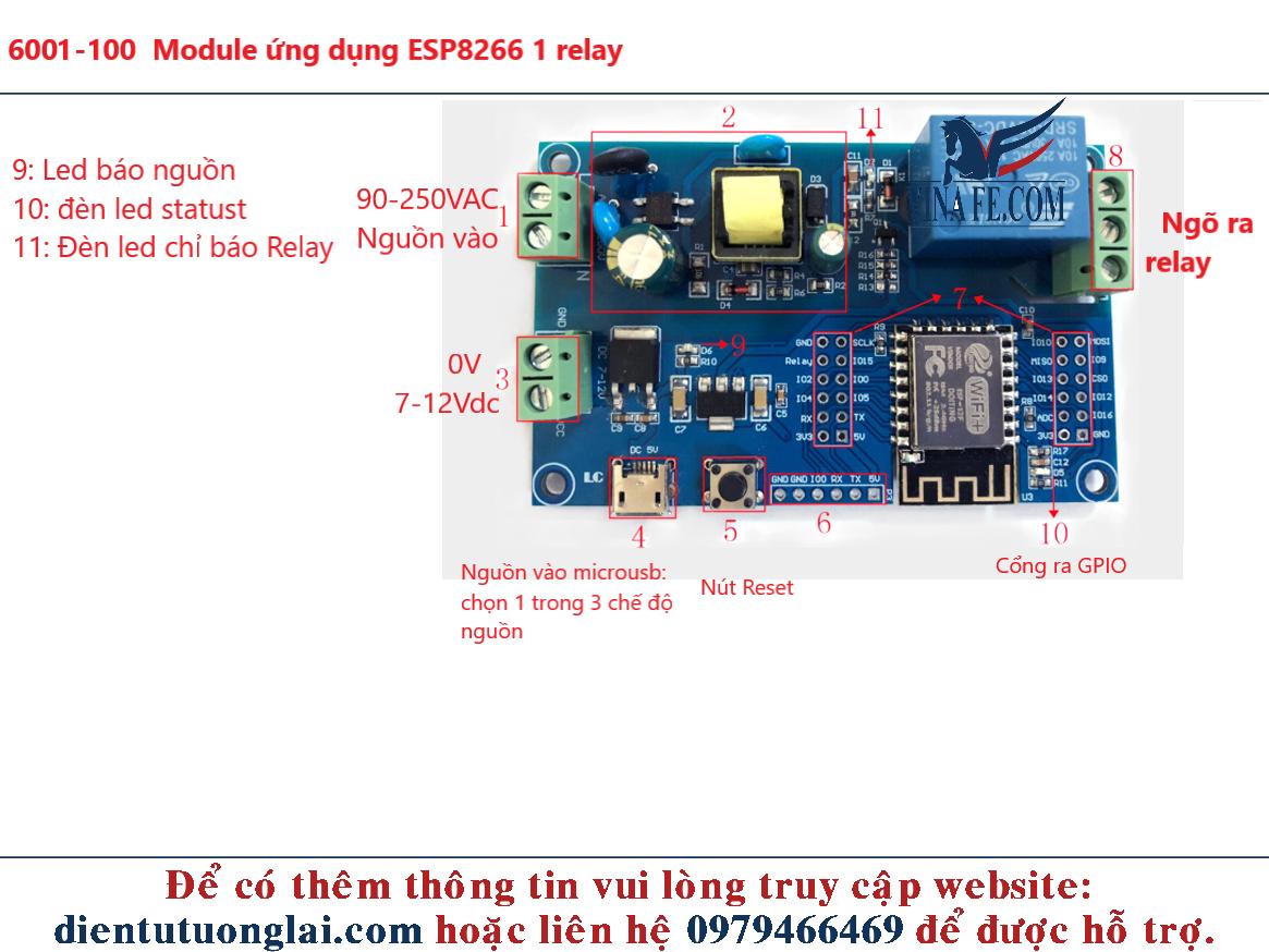 Module ứng dụng ESP8266 1 relay
